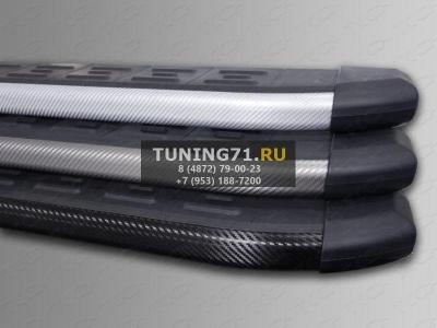 Mazda CX-5 2012 Пороги алюминиевые с пластиковой накладкой (карбон черные)  1720 мм